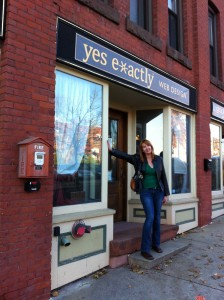 Founder Tess Gadwa, outside the original Yes Exactly storefront.